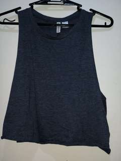 h&m dark blue muscle tee