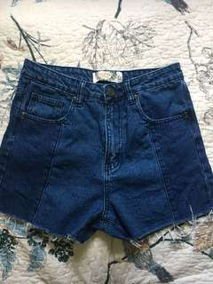 Contrast Step Hem Shorts