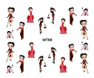 MT 69 2017 New Nail MT61-72 Mix 12 Designs Betty Boop Nail Art Water Transfer Decal Sticker Tattoo For Nail Art 1 Sheet