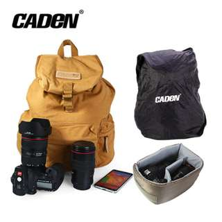 Caden F5 Canvas Camera Backpack with Removable Inner Rucksack Rain Cover