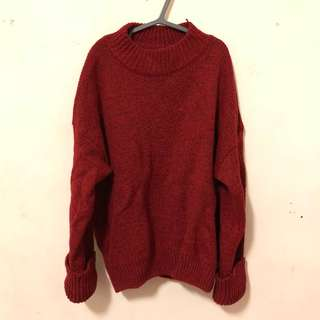反折袖子酒紅毛衣
