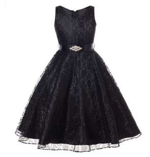 Girl Sleeveless Lace Dress + Diamond Belt