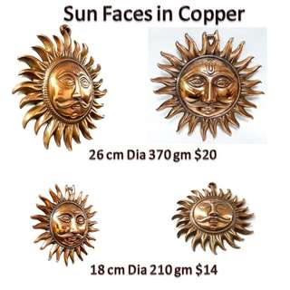 Fire God Sun surya face in Coppe r