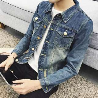 Men Ripped Denim Jacket Blue Jeans Denims Swag Outer