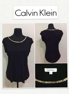 Calvin Klein Black Top With Gold Metal Accent on Neckline