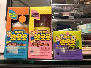 Pororo face and body creamy lotion, head n body jelly wash and head to toe baby bar