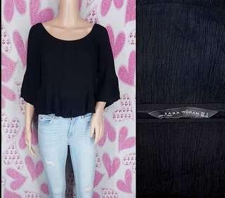 Zara Textured Black Top (Medium)