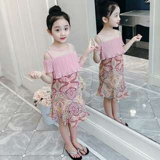 Pink Off shoulder Girls Dress Kids