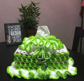 Crochet Tissue Box Cover (standard box size - green & white)