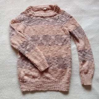 Korean Two Toned Blush Soft Knit Long Sleeved Pull Over / Sweater