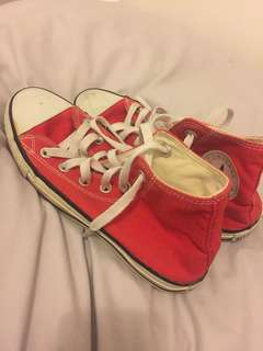 red converse high top shoes