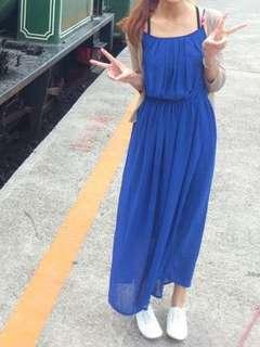 🚚 寶藍色 串珠 細肩帶 雪紡 長洋裝