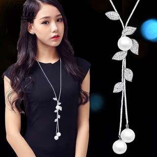 Pearl tassel leaves long necklace