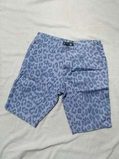 Leopard print blue knee length shorts