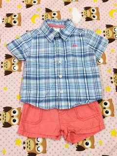 🚚 Carter's 藍色格紋襯衫+短褲(6個月)合售