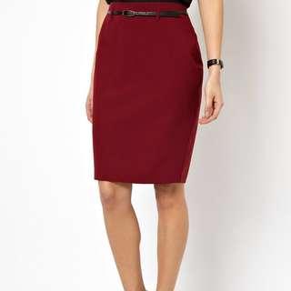 (UK 12) ASOS Pencil Skirt in Wine