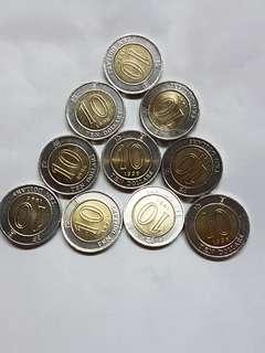 1996年拾圓10個