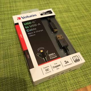 Verbatim usb-C to usb-A cable sync & charge 120m