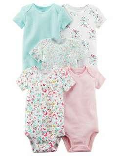 *12M Brand New Instock Carter's 5 Pc Short Sleeve Bodysuits Onesies Rompers Girls
