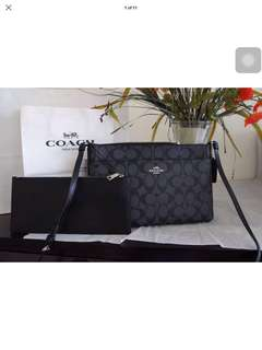 Coach East/west signature Cross body with pop up pouch f58316