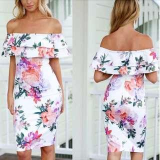Floral Off Shoulder Dress (PO)