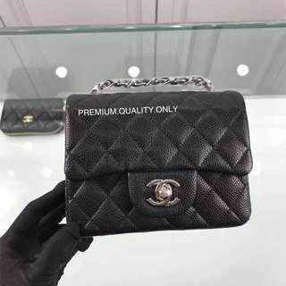 Boutique Quality mini square flap Chanel bag- black Caviar