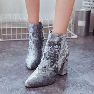 Gray Velvet Pointed Ankle Boots