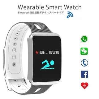 【智能手錶】WHATSAPP WECHAT 信息顯示/來電提示/血壓心率監測/計步器/睡眠監測 /遙控影相 Bluetooth Smart Watch IP68 TF1