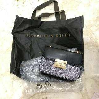 Charles and Keith 100% authentic (ASLI) black and glitter