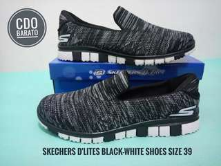 Skechers D'Lites Black-White Shoes
