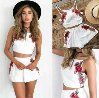 ▶️Peony Embroidery 2 Pc Crop Top / Jumpsuit (White / Black)