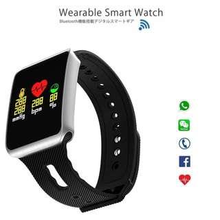 【Smart Watch】WHATSAPP WECHAT 信息顯示/來電提示/血壓心率監測/計步器/睡眠監測 /遙控影相 Bluetooth Pedometer IP68 TF1