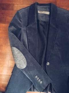 Zara suede dark blue blazer