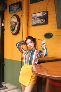 Colourful self tie top