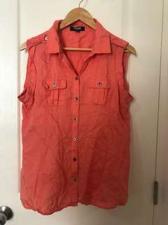 Orange Sleeveless Button Down