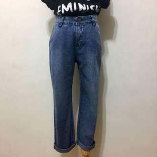 🚚 全新,高腰極瘦簡約刷色男友褲,AB褲,L,藍