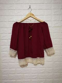 FREE SIZE Maroon laced off shoulders