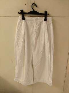 韓款白色七分闊腳褲