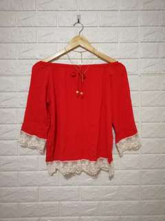 FREE SIZE Red laced off shoulder