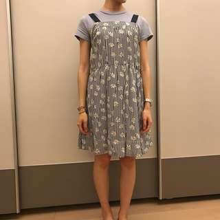 🚚 日貨Heather條紋雛菊細肩帶洋裝