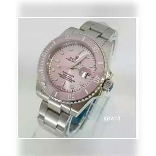 Rolex Submariner Stainless Steel Strap, Pink Face, Pink Frame