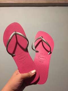 Havaianas silver thin strap and pink sole