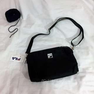 🚚 23公里 FILA 小包 腰包 四色 LOGO 小側包 斜跨包 包 肩背包 手提包 素 送禮 禮物 全黑 粉色 情侶包