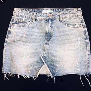 Splattered paint denim jean skirt