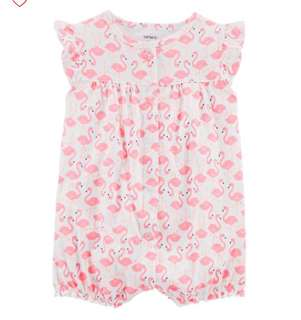 *3M & 6M* Brand New Carter's Flamingo Snap Up Cotton Romper For Baby Girl