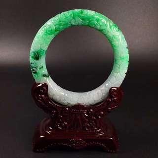 GZ-36冰糯辣綠雕花復古花紋圓條手鐲,完美度達95%以上,超值撿漏價,¥33600