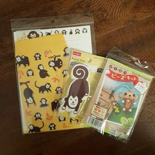 Monkey letters, message cards & beads kit
