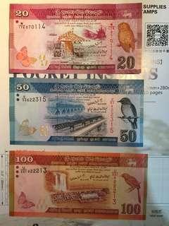 斯里蘭卡大全套 6張全新直版 Sri Lanka Banknote set of 6 Unc