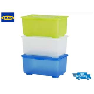 IKEA GLIS Box with lid, white, light green, blue