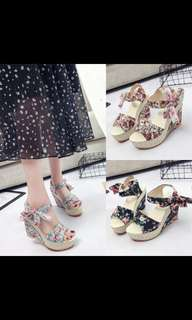 'Preorder' Korean flora wedges shoes , waiting time 10-12 days after payment is made, pm to order